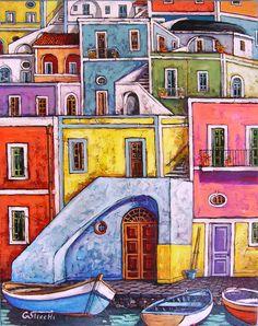 Case dei pescatori ( Procida)  cm.50x40  olio e acrilico su tela  opera originale di Giuseppe sticchi