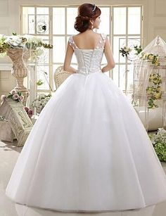 A-line Scoop Ankle-length Wedding Dress (Lace) – USD $ 109.99