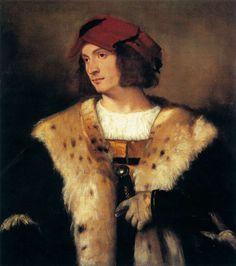 Titien, Portrait de jeune homme avec fourrure et épée, 1516