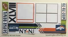 Click for Super Bowl Scrapbook Workshop Kits. Pages all set to record game day fun. #SomethingAboutSharing #SuperBowl #scrapbooking