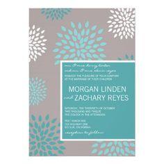 Darker gray paper - Modern Wedding Invitation :: Aqua Flowers