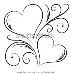 Pencil Art Drawings, Art Drawings Sketches, Easy Drawings, Heart Tattoo Designs, Wood Burning Patterns, Two Hearts, Free Motion Quilting, Heart Art, Pyrography