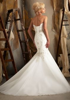 Bridal Gown From Mori Lee By Madeline Gardner Style 1920 Intricately Beaded Embroidery Over Lace on Net