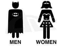 I've been looking for a bathroom sign....Batman and WonderWoman Toilet by ~LucaGiorgi on deviantART