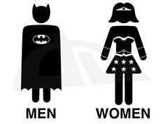 I've been looking for a bathroom sign....Batman and WonderWoman Toilet by ~LucaGiorgi on deviantART