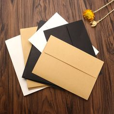 Kicute 10pcs/set Kraft Paper Blank Envelopes for Membership Card Greeting Card Storage Paper Envelopes DIY Supply 17.5*12.5cm