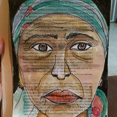 Face #11    Drawn with black Molotow pen, white corrector ink and watercolors on #recycled #book pages. The plan is to #draw 50 #faces.    #iamwhatiart #ArtJournal #Art #Artist #life #love #passion #openheart #fadwaalqasem   www.fadwa.com