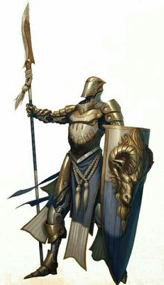 Fighter / Knight with Polearm and Shield - Pathfinder PFRPG DND D&D d20 fantasy