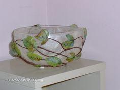 ciotola in vetro rivestita con carta riso con motivo edera in 3D