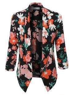 LE3NO Womens Textured Floral Print 3/4 Sleeve Blazer Jacket