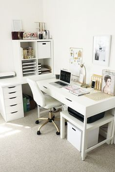 home office ideas for women / home office . home office ideas . home office design . home office decor . home office organization . home office space . home office ideas for women . home office setup Home Office Design, Home Office Decor, Office Decorations, Office Designs, Interior Office, Home Office White Desk, Interior Livingroom, Ikea Desk White, Office Desks For Home