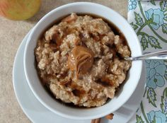 Best Oatmeal Ever - A hearty thick bowl of steelcut oats made with apples and cinnamon and slow cooked in the crockpot. (Overnight Apple Butter)
