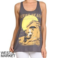 "Venice Beach Tank Super soft Racerback tank with ""Venice Beach California"" written across the front. Charcoal Grey. West Market SF Tops Tank Tops"