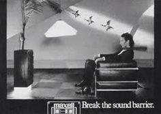 "Peter Murphy from Bauhaus in a classic British TV commercial from the '80s (advertising: Maxell cassettes ""break the sound barrier"")"