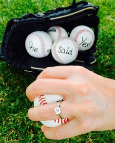 She said yes baseball engagement
