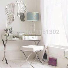 MR-401005 modern mirrored vanity set with stainless steel legs
