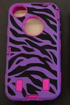 Zebra Purple  Box Otter Style Case Iphone 4 / 4s