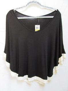 NEW NWT CHA CHA VENTE M Casual Black Color Block Dolman Flutter Top Blouse Shirt #ChaChaVente #Blouse #Casual