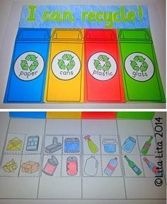 I can recycle, fold and learn by Lita Lita Creative Teaching, Teaching Kids, School Projects, Class Projects, Recycling Activities For Kids, Science Stations, Recycling Information, K Crafts, Earth Day Activities