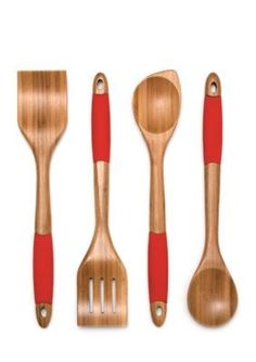 Lipper International Bamboo Bamboo and Silicone Cooking Utensils