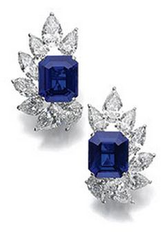 Pair of very fine and rare sapphire and diamond ear clips, Cartier Each set with a step-cut sapphire weighing signed Cartier, numbered, French assay marks, case stamped Cartier. Sapphire Necklace, Sapphire Jewelry, Diamond Jewelry, Sapphire Pendant, Gold Jewellery, The Sapphires, Diamond Earing, Cartier Jewelry, Cartier Earrings