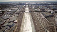 Vídeo aéreo mostra o rio Los Angeles antes de sua transformação