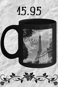 looking for some paris home decor? check out this ceramic black coffee cup bring home a little paris travel today, #coffeemugsuniquegiftideas  #parishomedecorideas #creativecoffeemugsceramics Black Coffee Mug, Coffee Cups, Paris Home Decor, Little Paris, Paris Travel, Ceramics, Tea, Mugs, Tableware