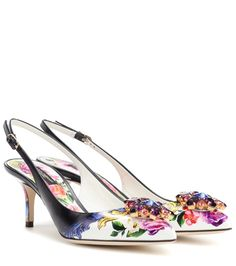 Dolce & Gabbana - Leather slingback pumps - Let Dolce & Gabbana's floral-printed pumps take you on a memorable garden stroll. Crafted from smooth calfskin leather, this slingback style has a kitten heel and has been finished off with a glamorous crystal embellishment to the toe. seen @ www.mytheresa.com