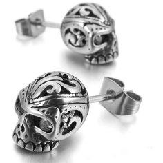 Punk Rock Skull Stud Earrings - Skullflow  https://www.skullflow.com/collections/skull-earrings/products/punk-rock-skull-stud-earrings