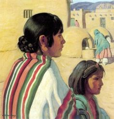 Taos Women by Ernest Martin Hennings. Edgar Payne, Maynard Dixon, Southwestern Art, New Mexican, Native American Art, Native Art, Mexican Artists, Art Institute Of Chicago, First Nations