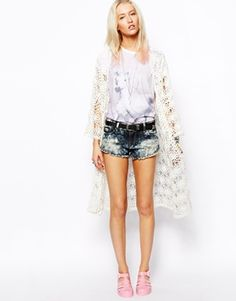 """ASOS Hand Knitted Long Crochet Kimono -- okay hi there ASOS? This is crocheted. No part of it was knitted. """"Hand knitted crochet"""" is not a thing. And were it a thing, hand knitted would be hyphenated. Also pro tip from someone who's already lived through this trend twice: plastic jelly shoes are a world of pain, blisters, and chafing. You're better off getting on board with the Birkenstock revival."""