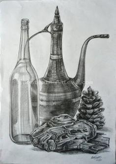 Student Drawings - New Pin Pencil Art, Pencil Drawings, Art Drawings, Lessons For Kids, Art Lessons, Bottle Drawing, Student Drawing, Sea Salt And Pepper, Still Life Art