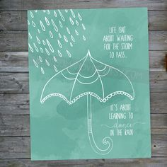 Dance in the Rain Print - white silhouette umbrella quote 8x10 wall art decor on Etsy, $15.00