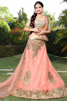 Peach Colour Net Fabric Party Wear A Line Lehenga Choli Comes With Matching Art Silk Blouse and Net Fabric Dupatta. This Lehenga Choli Is Crafted With Embroidery Work. It Is An Party Wear Lehenga Chol...