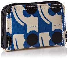 Orla Kiely Poppy Cat Print Medium Zip Wallet, Powder Blue, One Size