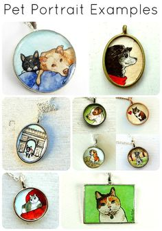 Personalized Pet Portrait Necklace Jewelry, Custom Hand Painted Watercolor Pendant, Dog, Cat, Horse or any other pet! $50.00 by SarahLambertCook   https://www.etsy.com/listing/61748681/personalized-pet-portrait-necklace#