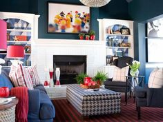 Thanks to an all-American palette, menswear fabrics and casual coastal touches, a lackluster great room becomes a red, white and blue masterpiece for young parents and their two little boys.