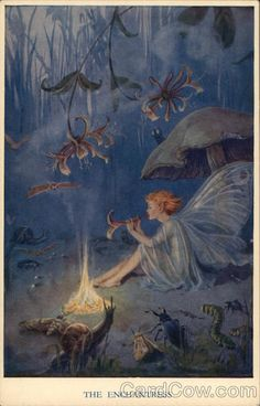 enchantress by english illustrator margaret tarrant via foundus Woodland Creatures, Magical Creatures, Fantasy Creatures, Fantasy Kunst, Fantasy Art, Art Magique, Kobold, Elves And Fairies, Vintage Fairies