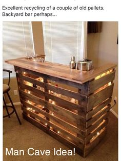 Great Man Cave Idea! Could definitely customize it by painting it your favorite team colors or leave it natural and stain it! Also adding lights is easy and a great way to enhance it!