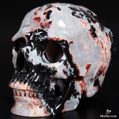 Black Zebra Agate Crystal Skull