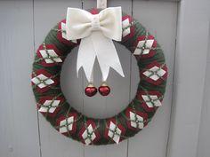 Christmas Wreath, Yarn and Felt Front Door Wreath/ Preppy Jingle Bells, 14 inch Wreath. $45.00, via Etsy.