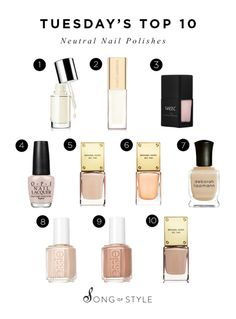Tuesday's Top 10 Neutral Nail Polishes