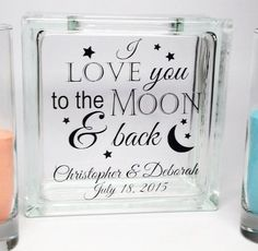 "Unity Candle Alternative Sand Set ""Love You To the Moon and Back"" Check out all the Unity Sand Sets on our website! Personalized sets ship in 3-5 business days!"