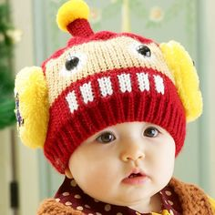 a0e6e93ae4b85 Robot Label Winter Knitted Baby Hats Kids Bomber Caps Child Pocket Hats