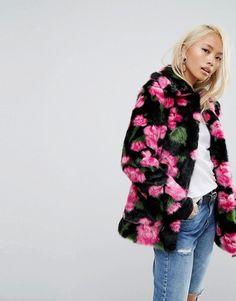 Jakke Mid Length Faux Fur Coat In Floral Print