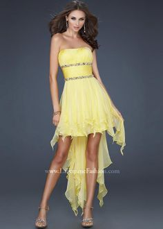 18f9993e64e5 La Femme 15087 Yellow Hi Low Dress Different color and these would be  perfect bride maid