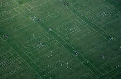 Arial view of soccer fields