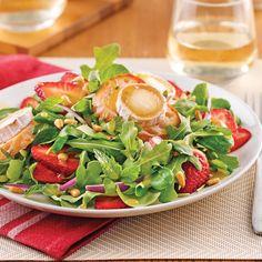 Salade de chèvre chaud et fraises - Je Cuisine Seaweed Salad, Nutrition, Caprese Salad, Healthy Tips, Brunch, Cabbage, Salads, Strawberry, Appetizers