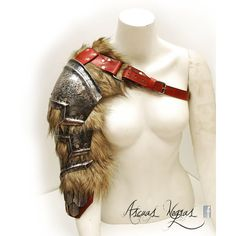 Norse fantasy steel and leather shoulder armor with scalemails female... ❤ liked on Polyvore featuring costumes, tribal costume, party halloween costumes, party costumes and leather costumes