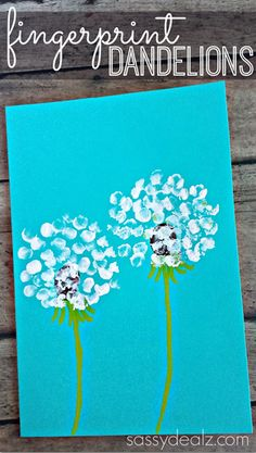 Use your fingers as paint brushes to create this dandelion flower print.